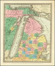 Michigan Map By David Hugh Burr