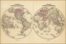 World Map By Alvin Jewett Johnson  &  Ross C. Browning