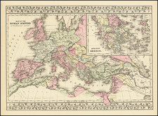 Europe, Italy, Greece and Mediterranean Map By Samuel Augustus Mitchell
