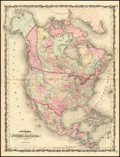 North America Map By Alvin Jewett Johnson  &  Ross C. Browning