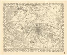 Paris Map By Joseph Hutchins Colton