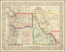 Map of Oregon, Washington, Idaho and part of Montana By Samuel Augustus Mitchell Jr.
