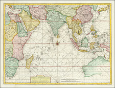 Indian Ocean, China, Japan, Korea, India, Southeast Asia, Philippines, Other Islands and Australia Map By Francois Valentijn