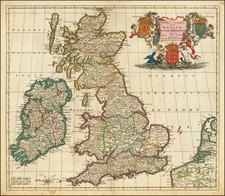 Novissima et Accuratissima Totius Angliae, Scotiae et Hiberniae Tabula… By Theodorus I Danckerts
