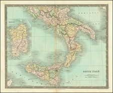 Southern Italy, Sardinia and Sicily Map By Henry Teesdale