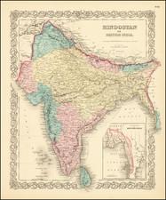 India Map By Joseph Hutchins Colton