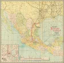 Texas and Mexico Map By American Bank Note Company