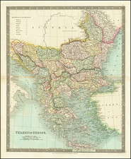Romania, Balkans, Turkey and Greece Map By Henry Teesdale