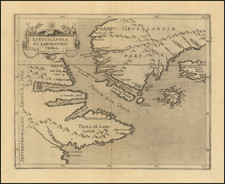 Polar Maps, Atlantic Ocean, Iceland and Eastern Canada Map By Cornelis van Wytfliet