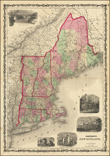 New England, Maine, Massachusetts, New Hampshire, Rhode Island and Vermont Map By Alvin Jewett Johnson  &  Ross C. Browning