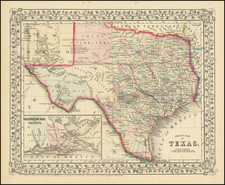 County Map of Texas By Samuel Augustus Mitchell Jr.