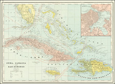 Caribbean Map By George F. Cram