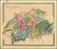 Switzerland Map By David Hugh Burr