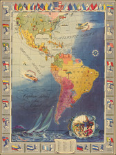 United States, North America, South America, Pictorial Maps and America Map By Neff