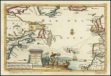 Atlantic Ocean, New England and Mid-Atlantic Map By Pieter van der Aa