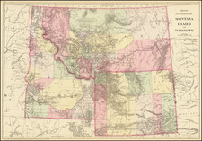 Rocky Mountains, Idaho, Montana and Wyoming Map By Samuel Augustus Mitchell Jr.