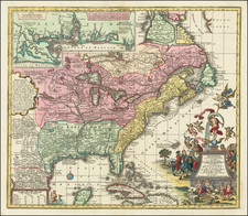 South, Southeast, Texas, Midwest and North America Map By Matthaus Seutter