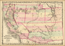 Southwest, Arizona, Utah, Nevada, New Mexico, Rocky Mountains, Utah and California Map By Alvin Jewett Johnson  &  Ross C. Browning