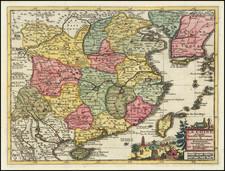China and Korea Map By Pieter van der Aa