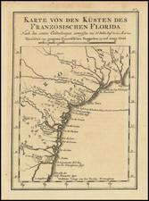 Florida, Georgia, North Carolina and South Carolina Map By Jacques Nicolas Bellin