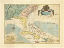 Florida, South, Southeast, North Carolina, South Carolina, Caribbean and Bahamas Map By Mark Catesby