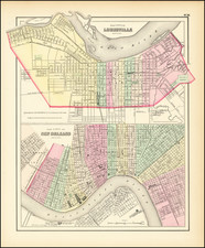 Kentucky and New Orleans Map By Joseph Hutchins Colton