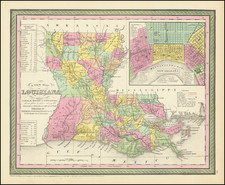 A New Map Of Louisiana with its Canals, Roads, Distances from Place to Place, along the Stage & Steam Boat Routes . . .Large inset of New Orleans By Thomas Cowperthwait & Co.