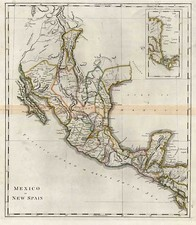 Texas, Southwest, Rocky Mountains and Mexico Map By Mathew Carey