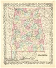 Alabama Map By Joseph Hutchins Colton