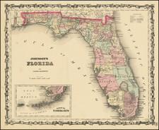 Florida Map By Alvin Jewett Johnson  &  Ross C. Browning
