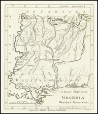 South, Alabama, Mississippi and Georgia Map By Jedidiah Morse