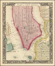 New York City Map By Samuel Augustus Mitchell Jr.