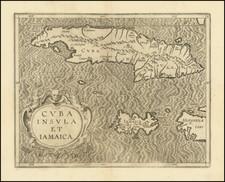 Cuba, Jamaica and Other Islands Map By Cornelis van Wytfliet