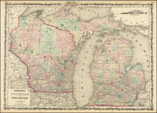 Michigan and Wisconsin Map By Alvin Jewett Johnson  &  Ross C. Browning