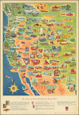 Texas, Southwest, Rocky Mountains, Pacific Northwest, Pictorial Maps and California Map By Chevron Oil Company