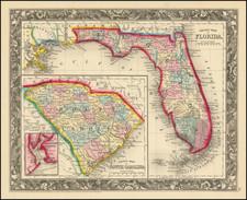 Florida Map By Samuel Augustus Mitchell Jr.