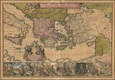 Mediterranean, Cyprus, Holy Land and Greece Map By Romeyn De Hooghe / Jacob Lindenberg