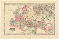 Europe, Italy and Mediterranean Map By Alvin Jewett Johnson  &  Benjamin P Ward