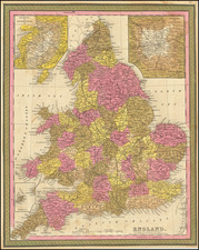 England Map By Samuel Augustus Mitchell