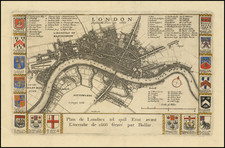 London  Before the Fire in 1666 By Richard Blome / Wenceslaus Hollar