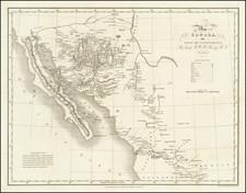 Texas, Arizona, New Mexico, Mexico and Baja California Map By Robert William Hale Hardy