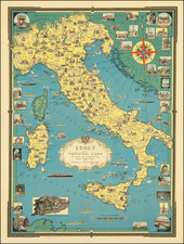 Italy and Pictorial Maps Map By Ernest Dudley Chase
