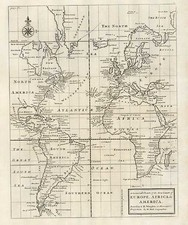 World, Atlantic Ocean, South America and America Map By Herman Moll