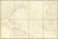Atlantic Ocean, United States and Caribbean Map By Depot de la Marine