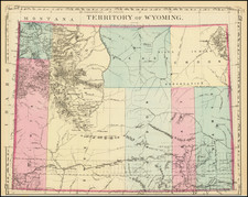 Wyoming Map By Samuel Augustus Mitchell Jr.