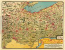 New York State, Pennsylvania, West Virginia, Kentucky, Indiana, Ohio and Michigan Map By Cheltenham Press