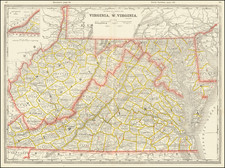 Maryland, West Virginia and Virginia Map By George F. Cram