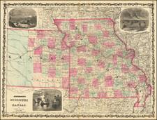 Kansas and Missouri Map By Alvin Jewett Johnson  &  Benjamin P Ward