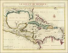 Florida, South, Texas and Caribbean Map By Nicolas de Fer