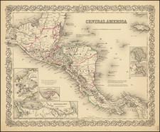 Central America Map By Joseph Hutchins Colton